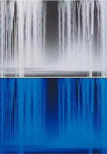 falling water<br/>[bottom image: under ultraviolet light] by hiroshi senju
